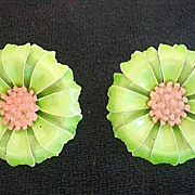 Vintage Enameled Flower Earrings W Germany