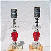 Pair of Red Crystal & Faux Marble Lamps