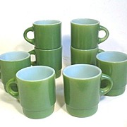 8 Green Fire King Mugs