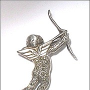 Marcasite & Sterling Silver Cupid Brooch Pin