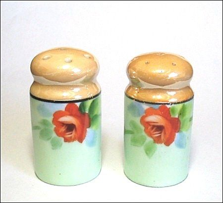 Vintage Hand Painted Roses Salt & Pepper Shakers MIJ