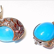 Vintage Copper & Turquoise Blue Glass Cabochon Earrings