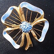 Wired Blue Enamel Flower Brooch Pin