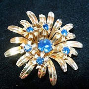 Vintage Retro Blue Rhinestone Flower Brooch