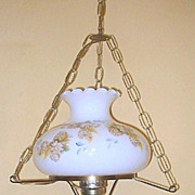Electric Hurricane Swag Lamp with Painted Flowers & Wheat