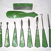 Vintage Green Celluloid Manicure Vanity Set 10 Pieces