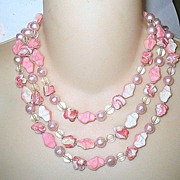 Vintage Triple Strand Pink Beaded Necklace