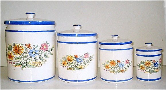 Vintage Blue & White Flowered Ceramic Canisters