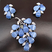 Vintage Coro Blue Thermoset Brooch & Earrings