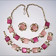 SALE PENDING Vintage Coro Pink Thermoset Necklace, Earrings & Bracelet Parure