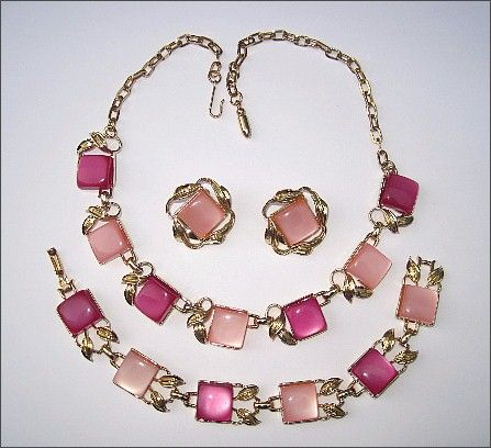 Vintage Coro Pink Thermoset Necklace, Earrings & Bracelet Parure