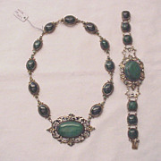 800 Silver and Malachite Cabochon Necklace and Bracelet - Circa 1890
