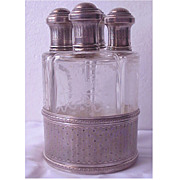 SALE Sterling & Etched Glass 4 Bottle Perfume Decanter Set