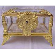 Beautiful Ornate Dore Bronze & Beveled Glass Jewel Casket