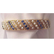 14Kt. Gold, Diamond, Sapphire & Cultured Pearl Bracelet