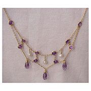 14kt. Gold, Cultured Pearl & Amethyst Festoon Necklace - Circa 1910
