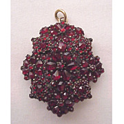 Victorian Bohemian Garnet & Gold Fill Memorial Locket - Pin Combo Circa 1875