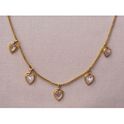 Fabulous 18kt. Yellow Gold & Moonstone Heart Necklace - Circa 1890