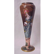 Wonderful Limoges Enamel Miniature Vase With Full Fig. Portrait of Lady - Circa 1900