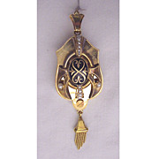 Swiss 18kt. Gold, Enamel & Cultured Pearl Etruscan Revival Pin / Pendent with Photo Window Dat
