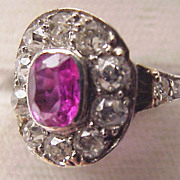Handcrafted Platinum, Gold, Diamond & Pink Sapphire Ring Circa 1905
