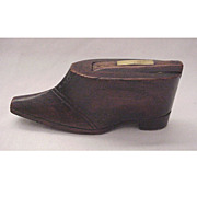 English Figural Wooden Shoe Snuff Box - Circa 1840