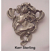 Wonderful William B. Kerr Sterling Art Nouveau Pin # 1703 - Circa 1900