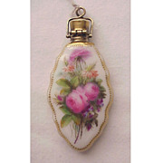 Lovely Hand-Painted Floral Porcelain Chatelaine Scent Bottle - Circa 1860