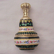 Magnificent French Vermeil Silver and Limoges Enamel Scent Bottle with Sweetmeats or Snuff Com