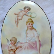 Gorgeous Antique French Hand Painted Porcelain Hand Mirror