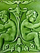 Gorgeous English Art Nouveau Cherub Tiles C1890