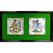 Pair of Mounted Delft Ceramic Tiles
