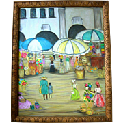 Florida Artist Gloria Elizabeth Nolan Folk Art Market Scene