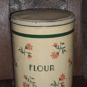 1930s Pantry Tin Flour Canister - Cream & Green