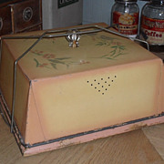 SALE Tin Cover & Bread Board - Glass Knob - c 1910 Pink & Cream