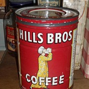 SALE Hills Bros. Coffee Tin - c. 1920 2 lb. Keywind