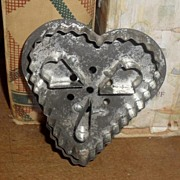 SALE Fancy Tin Heart Cookie / Cake Cutter - c 1890s