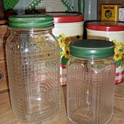 2 Glass Pantry Jars - Green Lids - Ball / Kerr