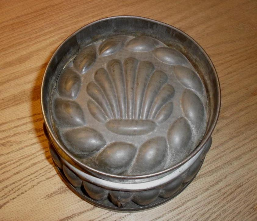 Ornate Tin Pudding Jelly Mold - Shell Motif - c.1890