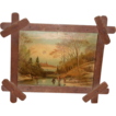 Small Primitive Winter - Skating Scene Print in Criss - Cross Frame