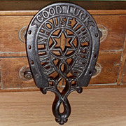 SALE 19th C Cast Iron Trivet / Sad Iron - Good Luck Horseshoe