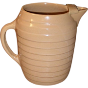 SALE c 1920 Yellowware Pitcher with Ice Lip