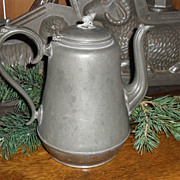 SALE c. 1890 Pewter and Tin Teapot - Acorn Finial