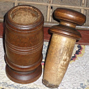 SALE c. 1890 Wooden Spice Nutmeg  Grinder / Grater