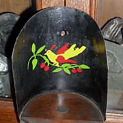SALE Primitive Wood / Tin Grain Scoop - Folk Art Painted