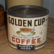 SALE Golden Cup Coffee Tin - Sibley-Almy Olean New York - c. 1930
