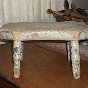 SALE Old Painted Primitive Country Footstool - Bench - c. 1910s