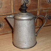 SALE Small Tin c. 1890s Victorian Era Coffee Pot