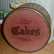 SALE Red Tin CAKES Pantry Box - c.1920s
