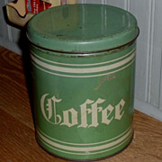 SALE 1930s Tin Green & Cream Coffee Pantry Box